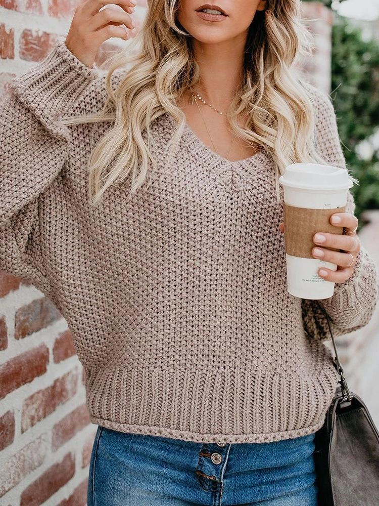 Plus Size Khaki Solid V Neck Loose Sweater