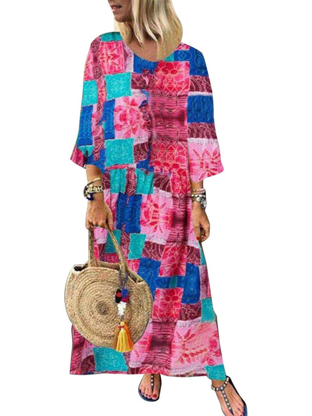 Plus Size Vintage Print Long-Sleeved A-Line Long Dress