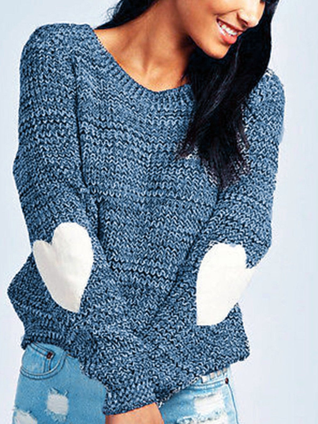 Solid Sweetheart Elbow Round Neck Pullover Sweater