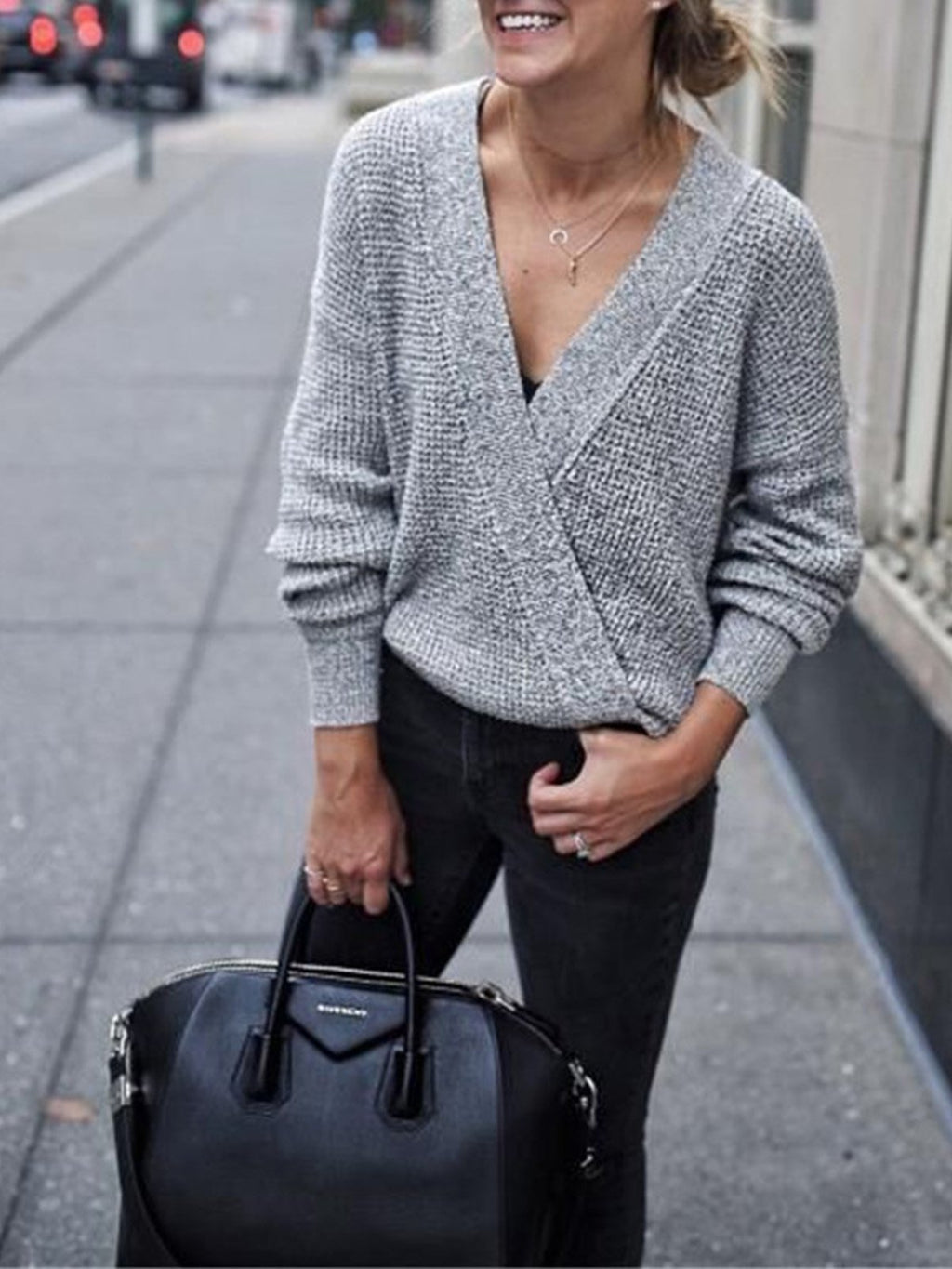 Gray Solid Surplice V Neck Loose Sweater