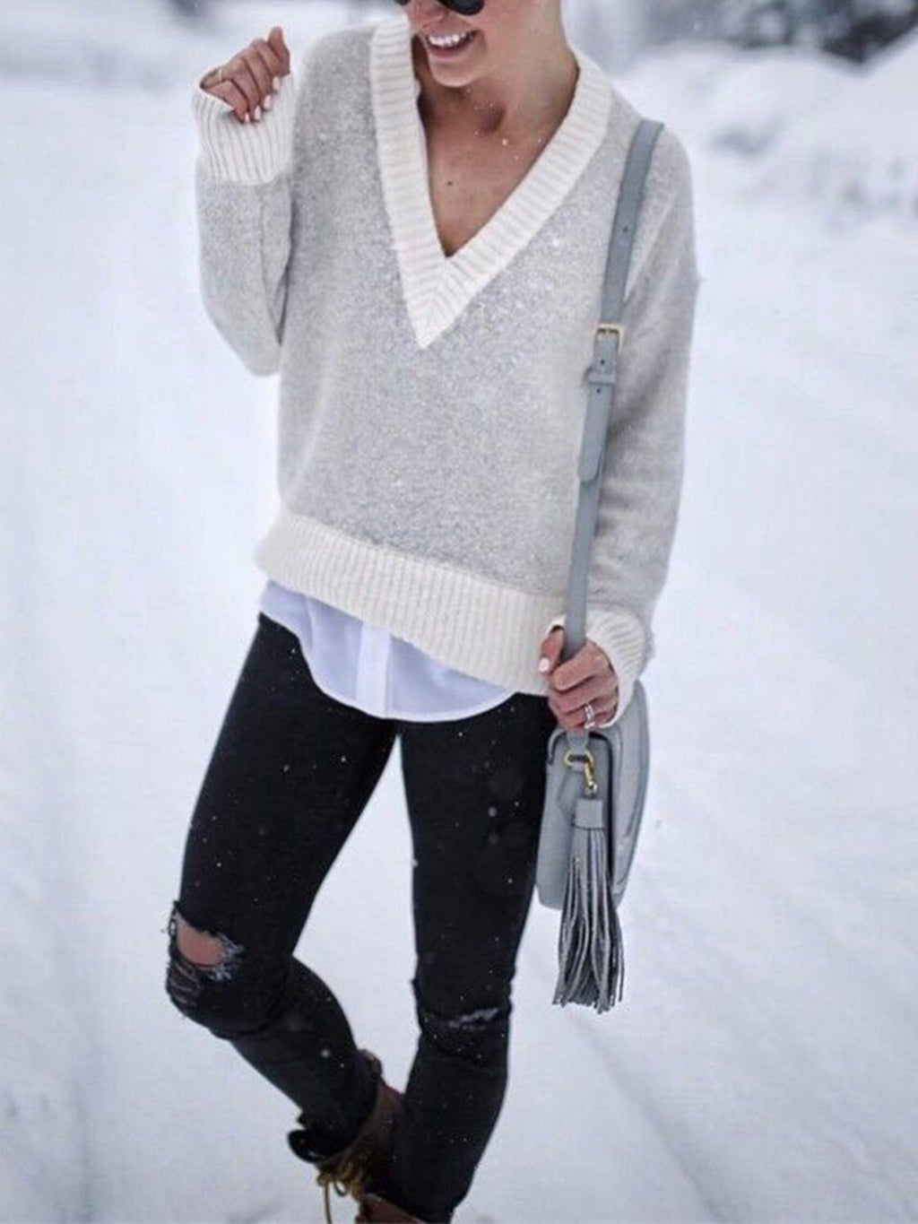 Loose Color Block V Neck Loose Pullover Sweater