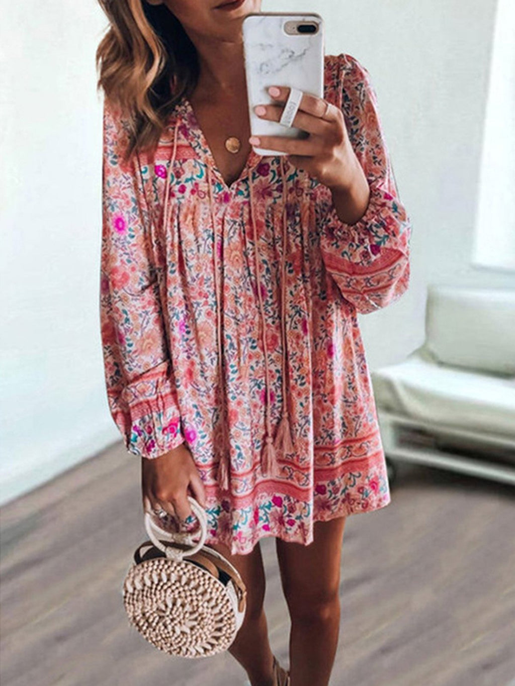 Bohemia Floral Print V Neck Long-Sleeved Mini Dress