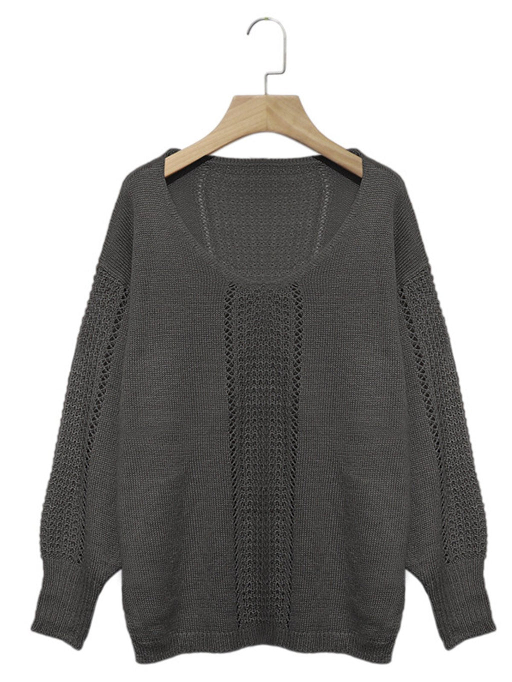 Solid Hollow V Neck Bloomer Sleeve Loose Sweater
