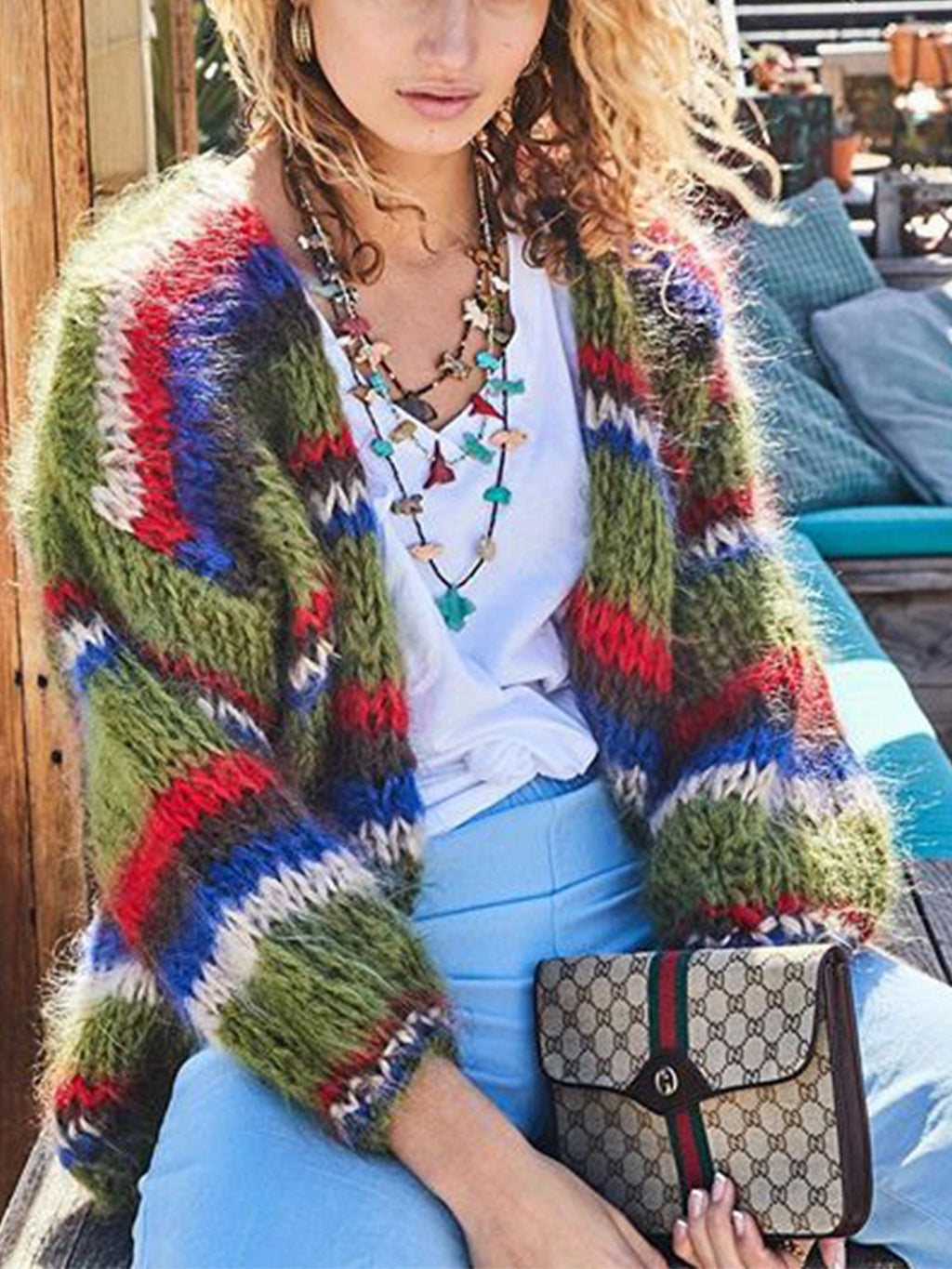 Multicolor Stripe V Neck Loose Long-Sleeved Sweater Cardigan