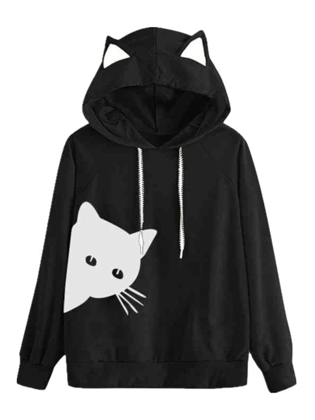 Kitten Print Hooded Long-Sleeved Sweatshirt