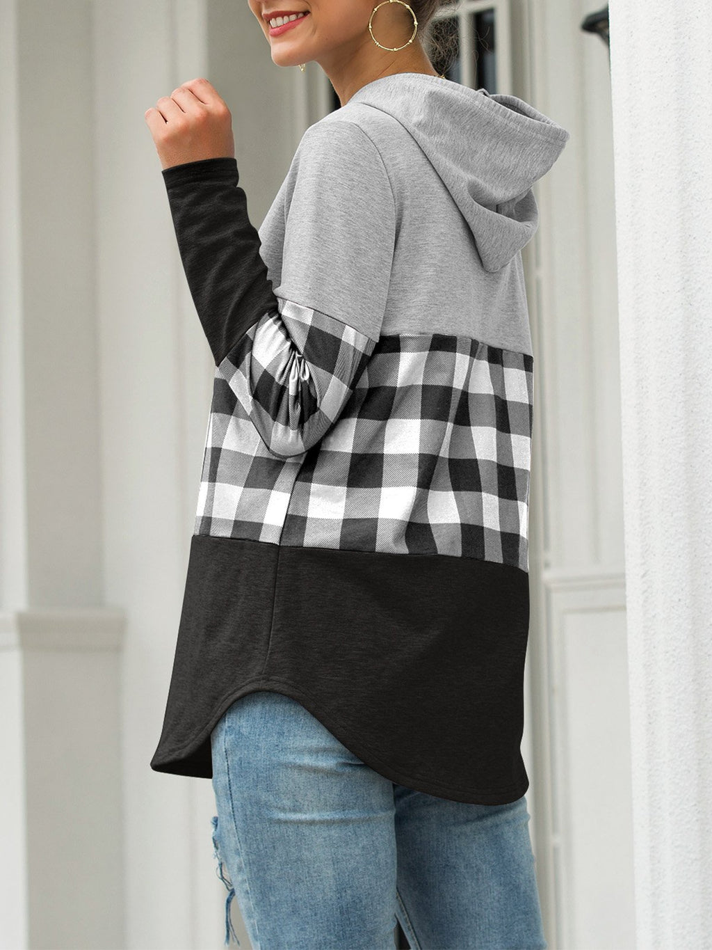Checker Print Splice Draw-String Hooded Sweatshirt