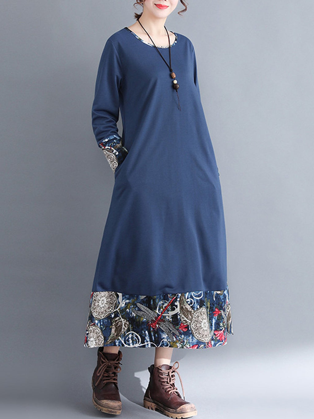 Vintage Folk Print Hem/Sleeve A-Line Linen/Cotton Dress