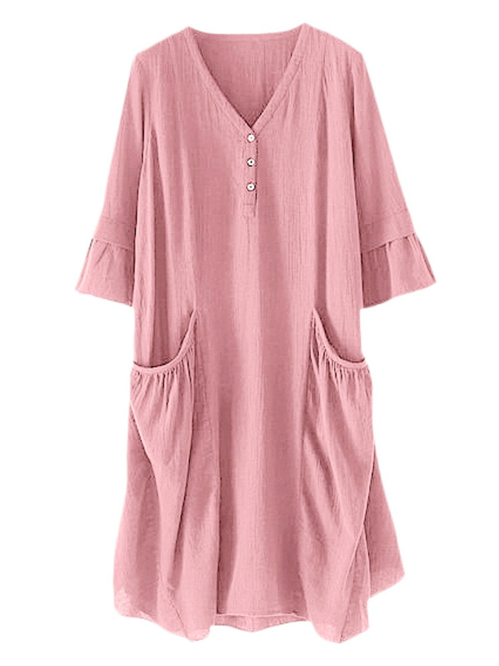Solid Buttoned V Neck Pocket Ruffle Flare Sleeve Half-Sleeve Midi Dress