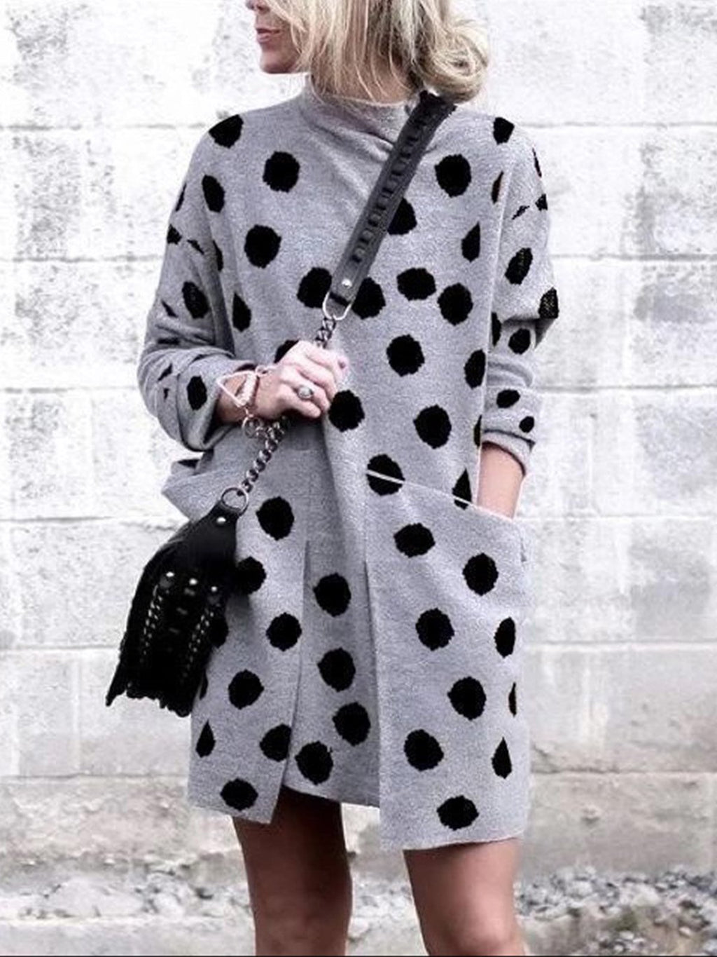 Polka Dot Print Turtle Neck With Pocket Asymmetric Mini Dress