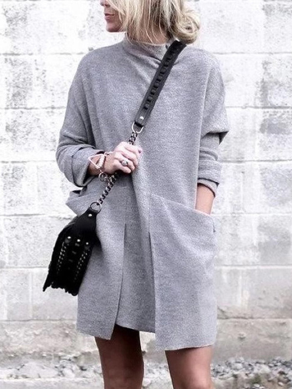 Solid Turtle Neck With Pocket Asymmetric Mini Dress