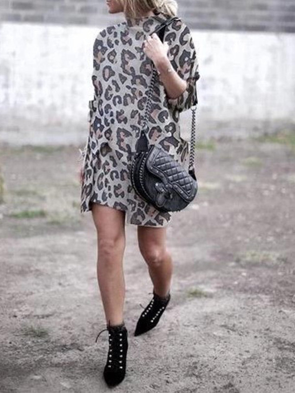 Leopard Print Turtle Neck With Pocket Asymmetric Mini Dress