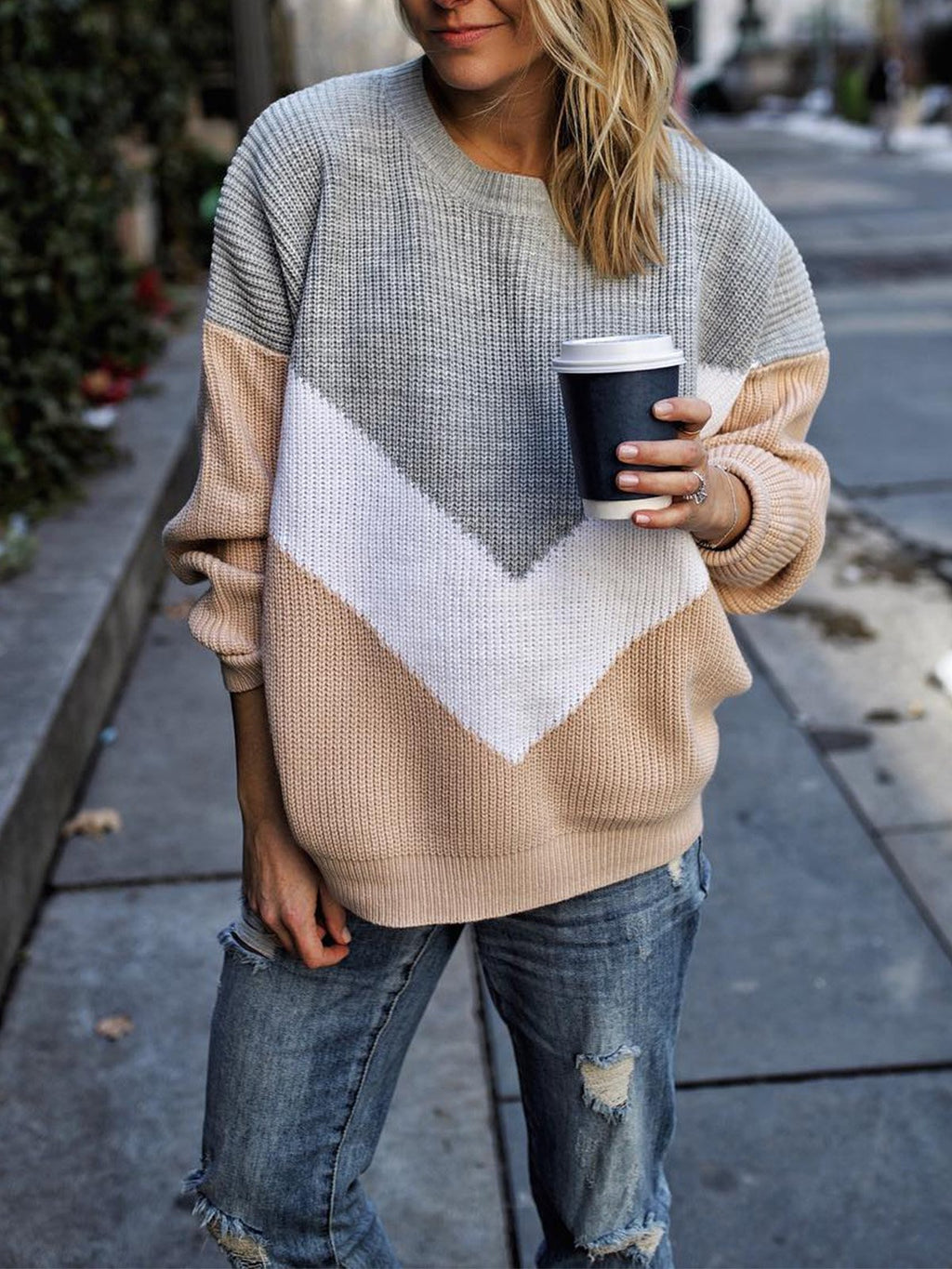 Women Geometric Splice Round Neck Sweater