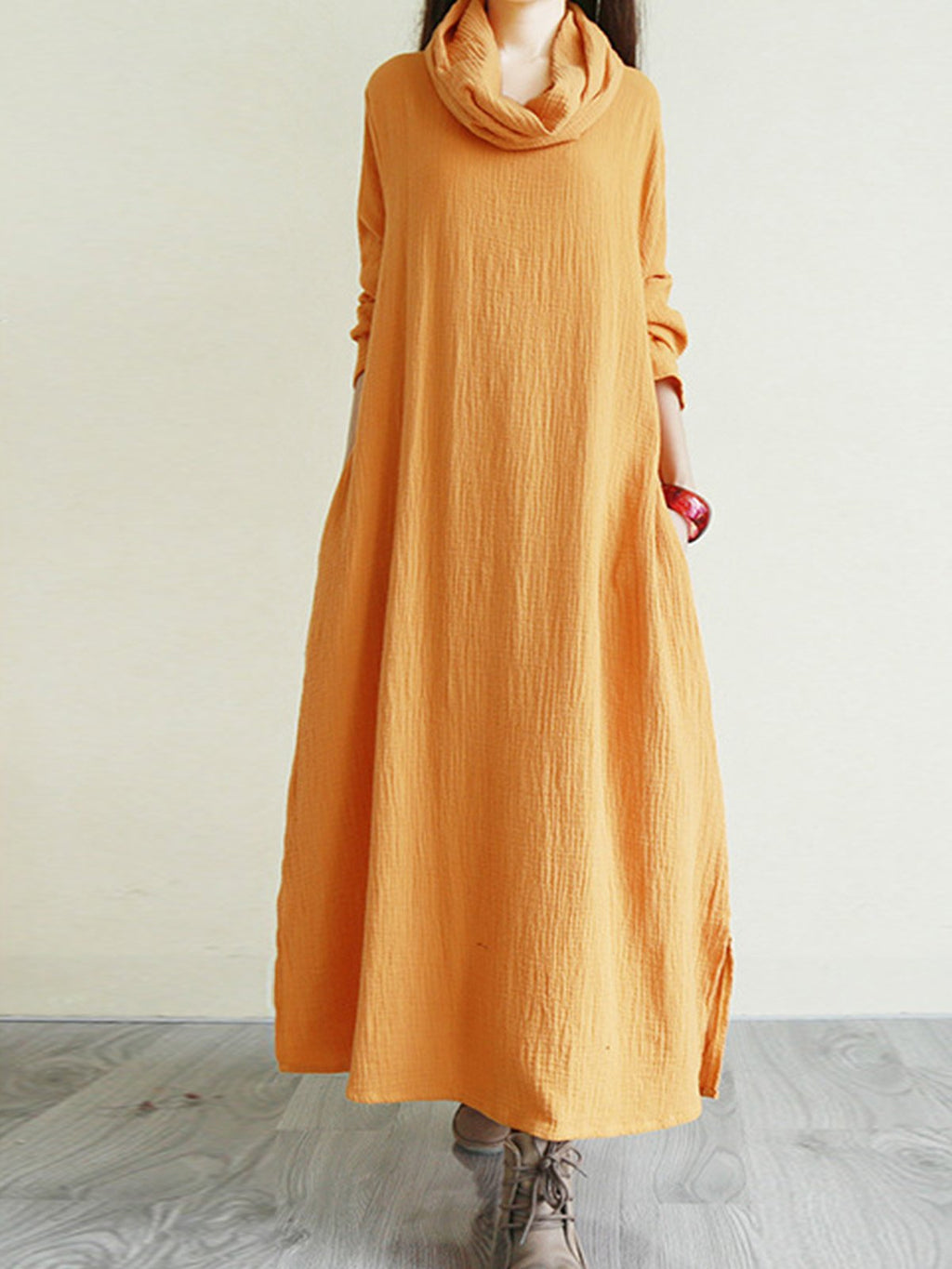 Solid Heaps Collar Vintage Midi Loose Dress