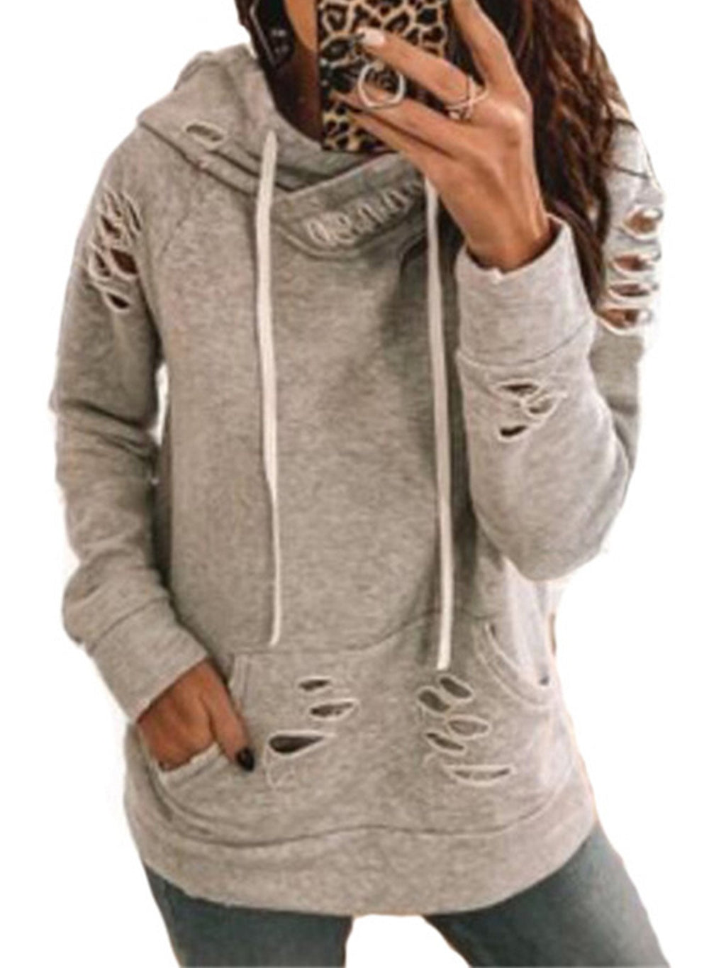 Ripped Solid Hooded With Pocket Sweatshirt