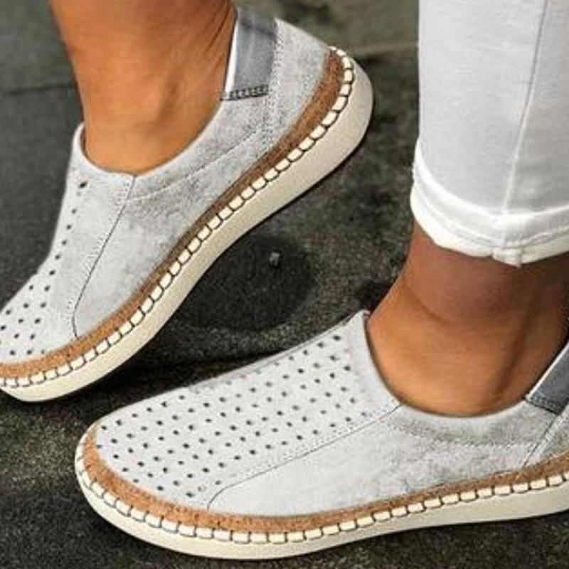 Slip-On Solid Well-Ventilate Hollow Sneakers