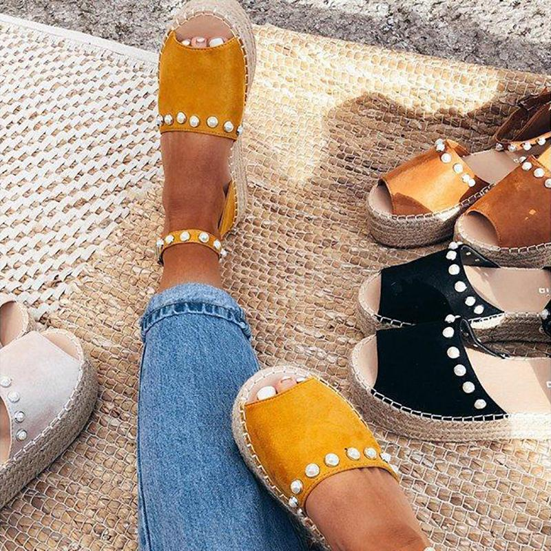 Yellow Flocking Upper Beading Ankle-Strap Platform Espadrille Sandals