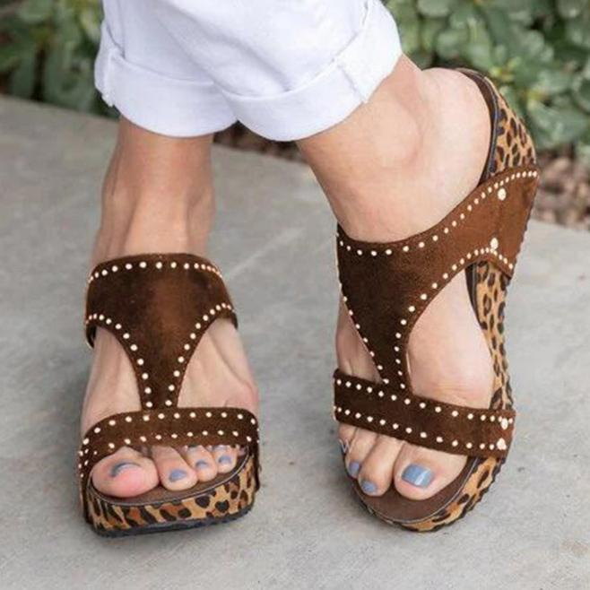 Rhinestone Chic Leopard Hollow Wedges Mule Sandals
