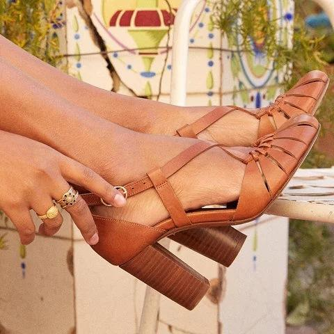 Summer Chic Hollow High Chunky Heels Buckle Women Sandals