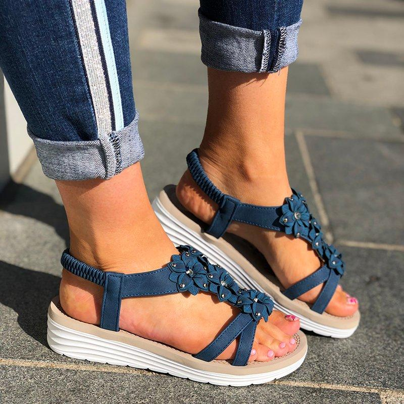Women Casual Summer Flower Trim Wedge Sandals