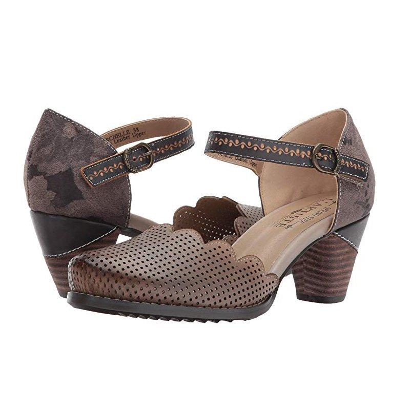 64b048a955427 Women Vintage Wave Edge Ankle-Strap Hollow Mary Jane Sandals