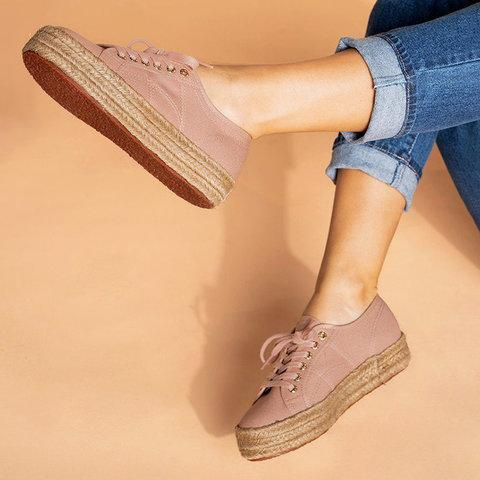 Canvas Round Toe Straw-Weaved Platforms Lace-Up Casual Shoes