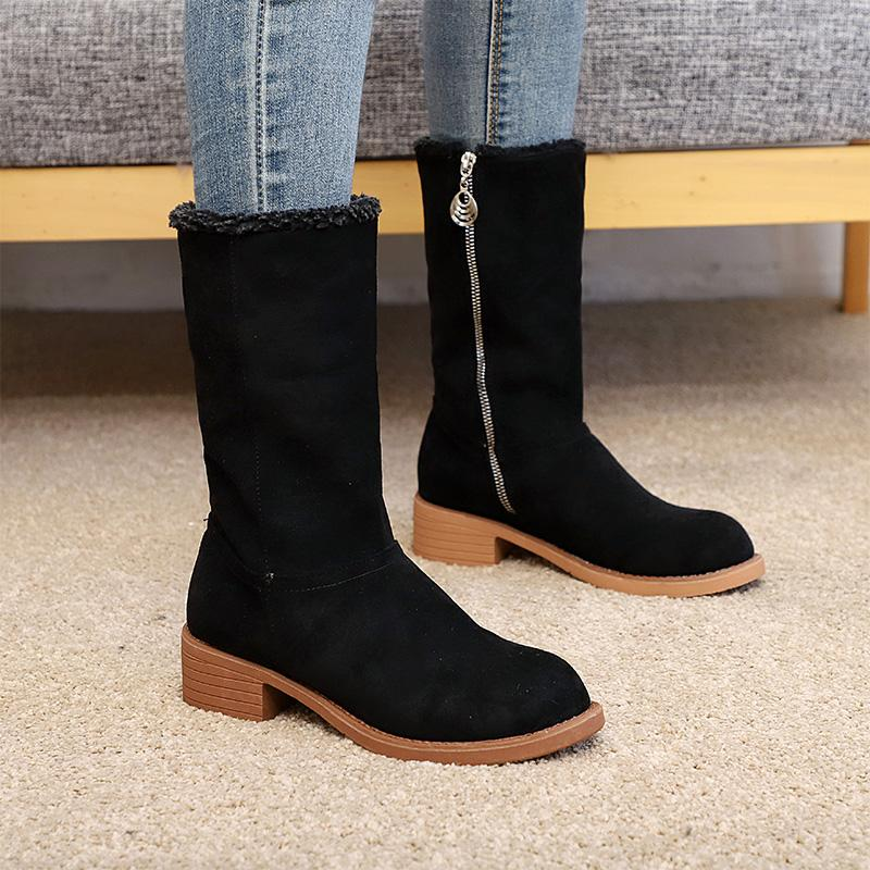 Flocking Velvet Lining Round Toe Solid Mid-Calf Boots