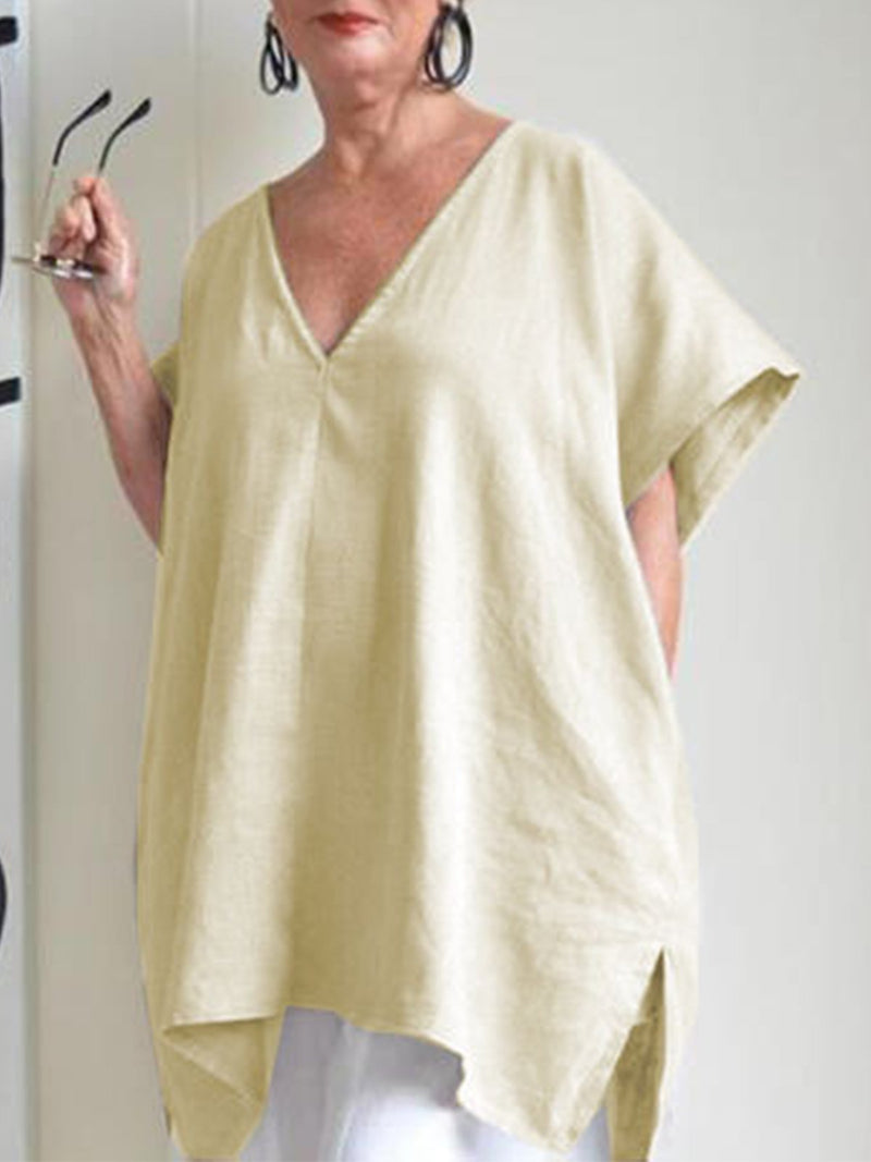 V Neck Solid Batwing Sleeve Linen/Cotton Top