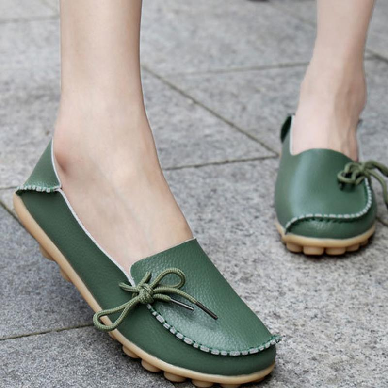 PU Flat Non-slip Bow-trim Flat Shoes