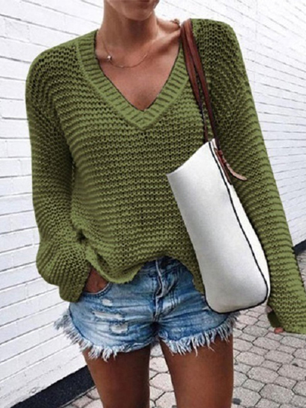 Solid V Neck Hollow Sweater