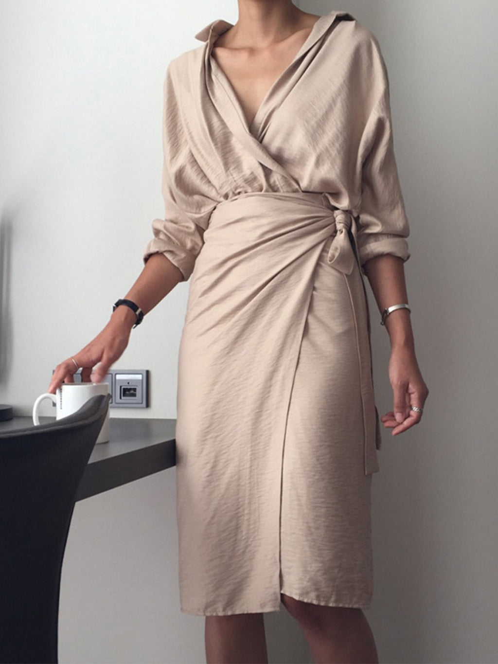 Asymmetric Wrap Self-tied V Neck Long Sleeve Solid Dress