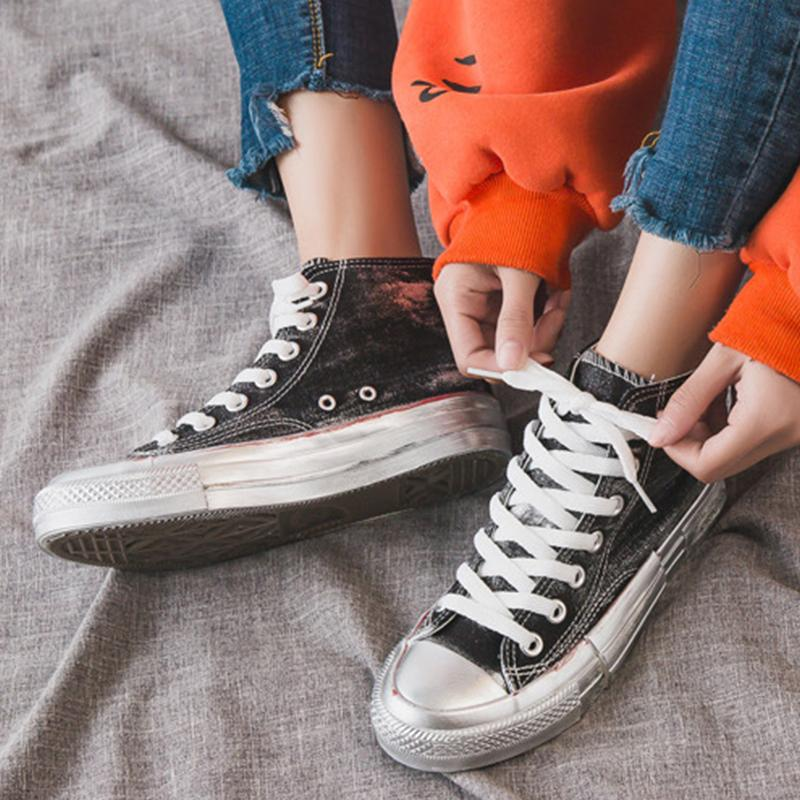 High-tops Color Block Students Style Distressed Sneakers