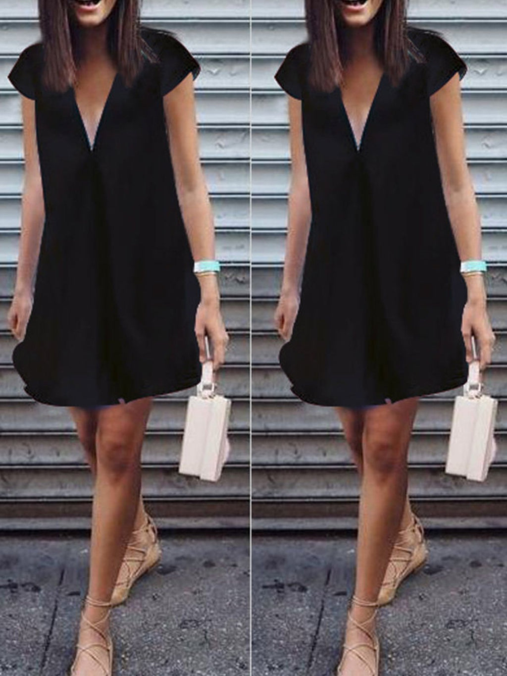 Cap Sleeve V Neck Mini Dress