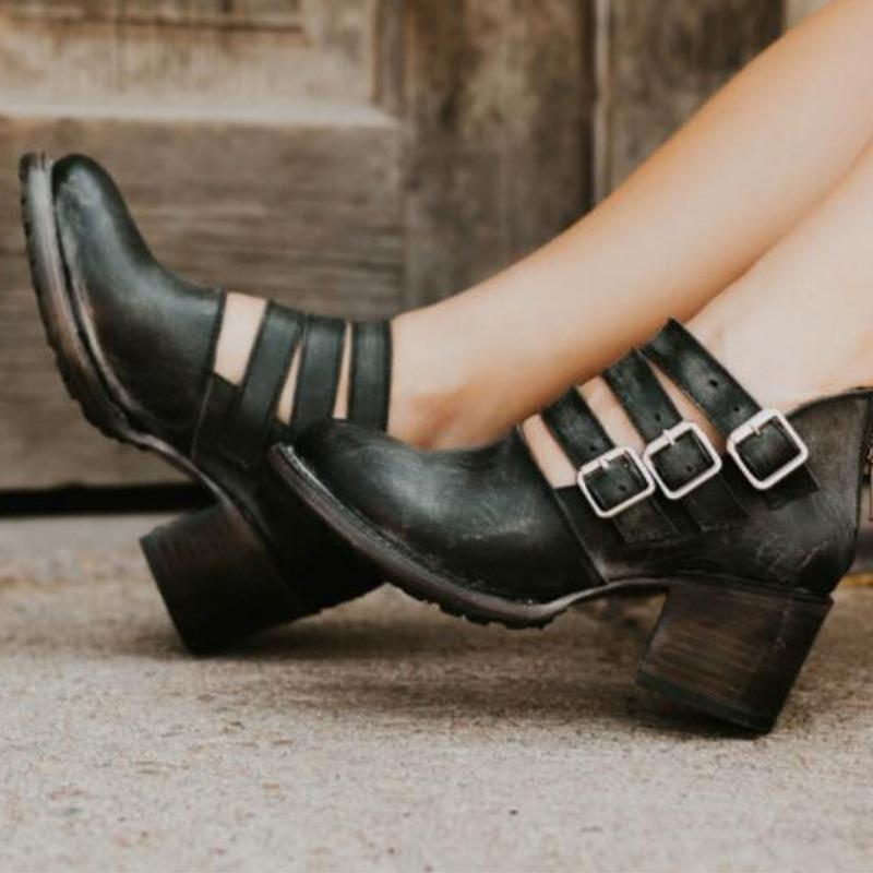 Autumn/Spring Women Chunky Heels Back Zipped Martin Booties