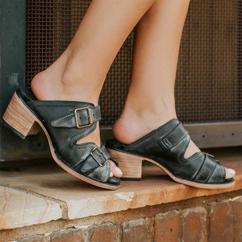 Vintage Metal Buckle Summer Chunky Heels Sandals