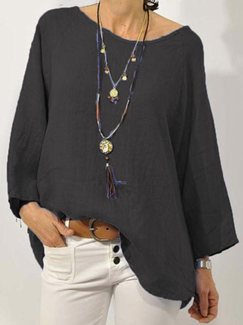 Plus Size Raglan Sleeve Cotton Blouse