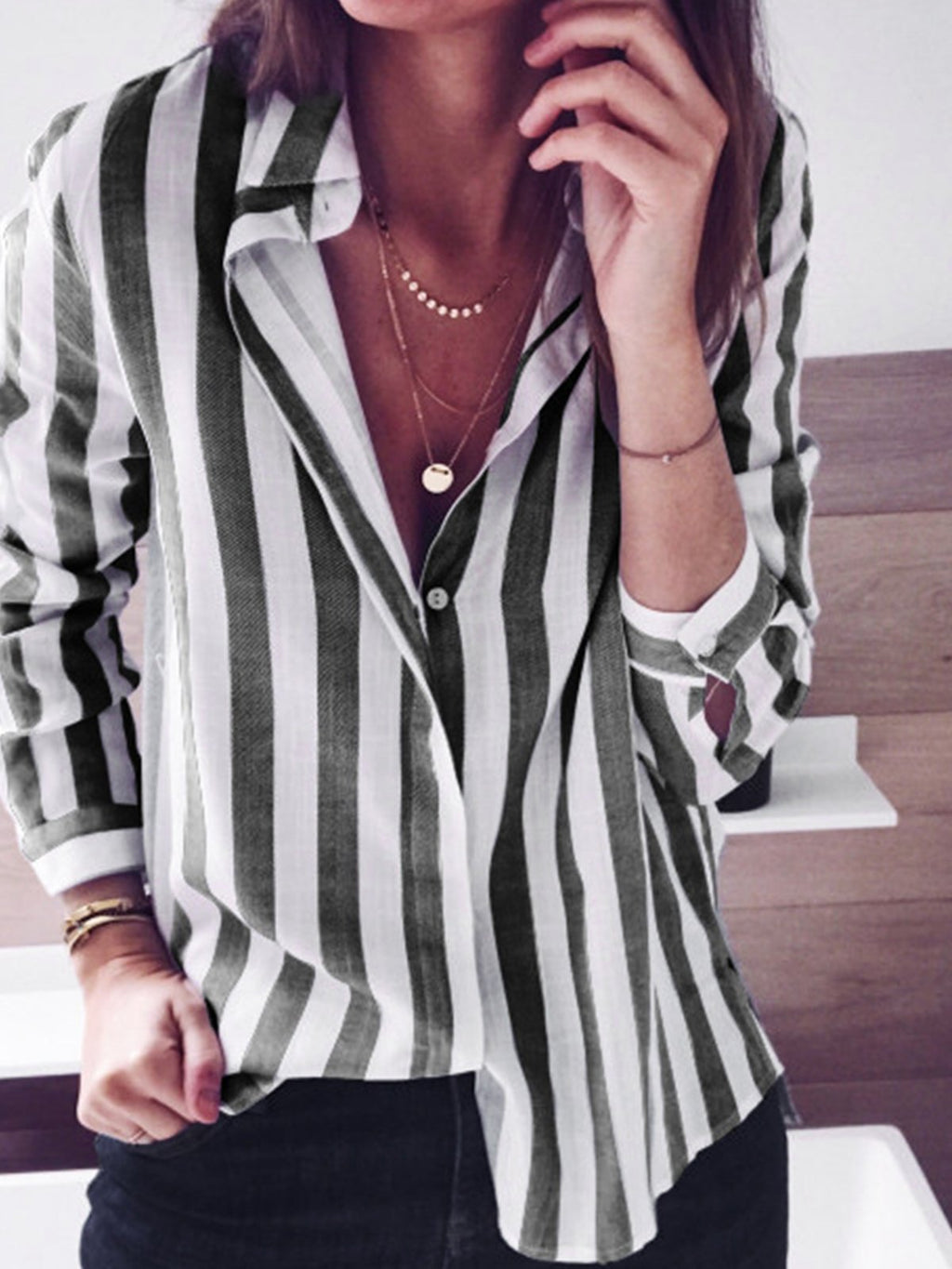 Casual Candy Colored Stripe Long Sleeve Shirt