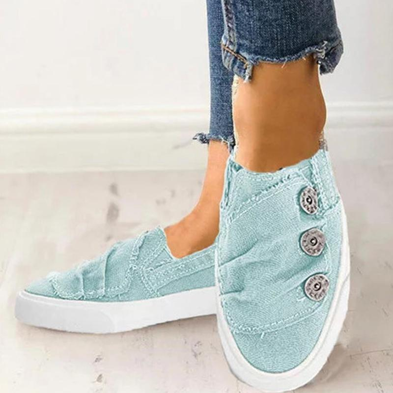 Flat Denim Cloth Upper Button Detail Round Toe Flats
