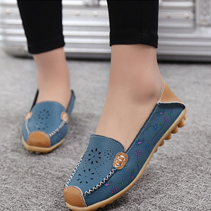 Flat PU Hollow-out Moccasin Ommino Shoes