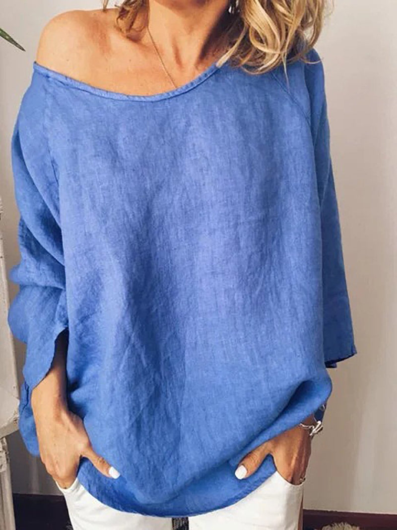 Solid Vintage Linen Round Neck Loose Pullover Neck Women Blouse