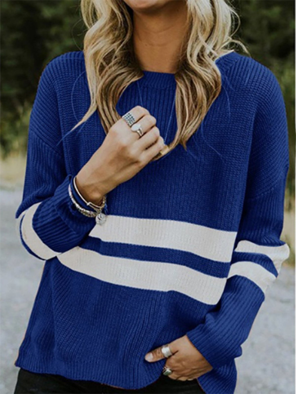 Color Collision Stripe Round Neck Long-Sleeved Basic Sweater