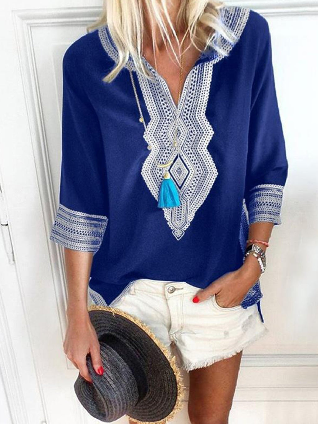 Geometric Print Women V Neck Casual Plus Size Top