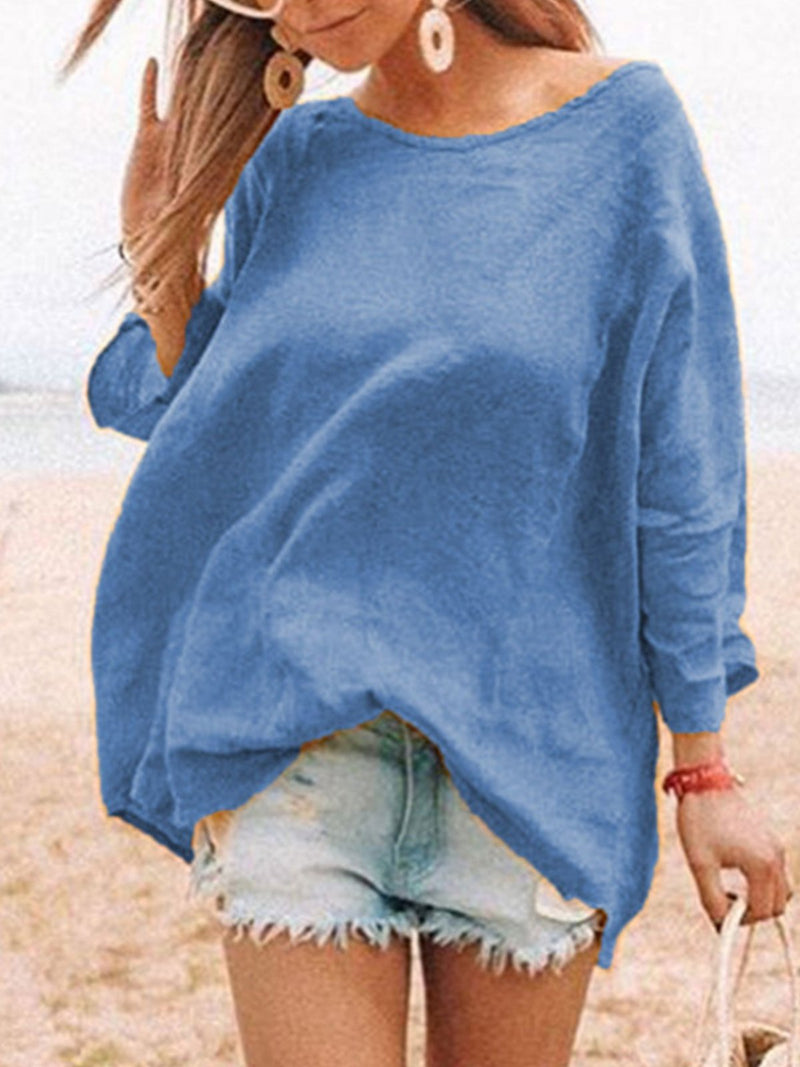 Round Neck Loose Linen/Cotton Blouse