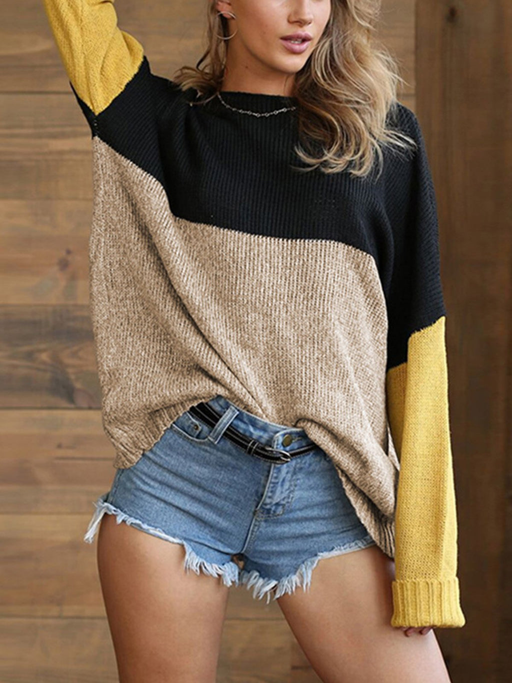 Color Block Crew Neck Long-Sleeved Autumn/Winter Sweater