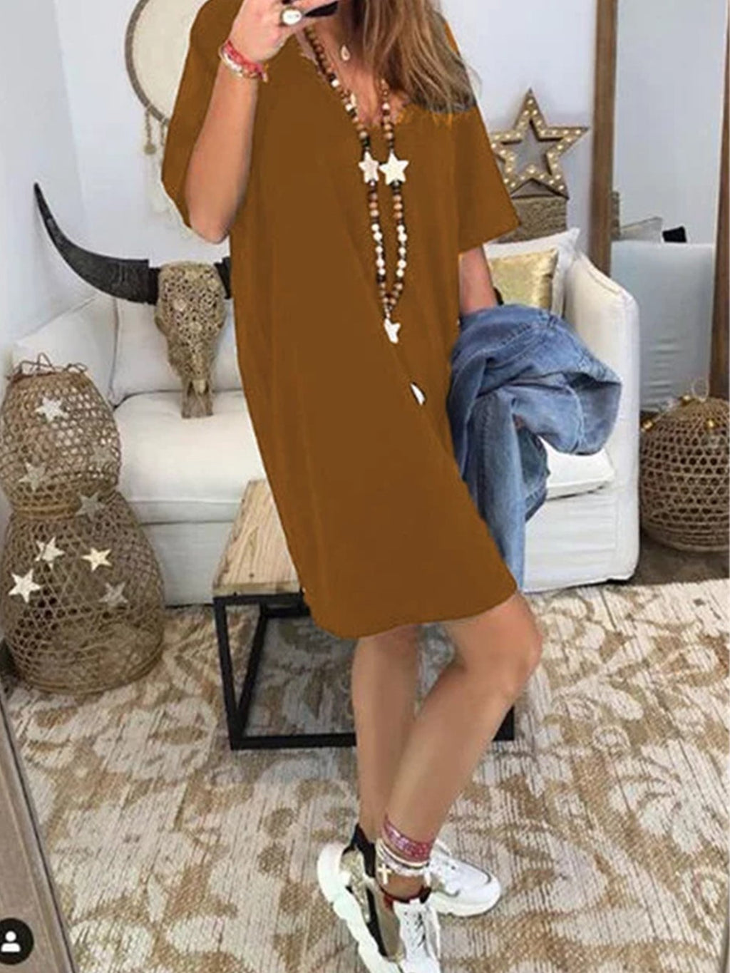 Women V Neck Pure Color Half Sleeve Dress