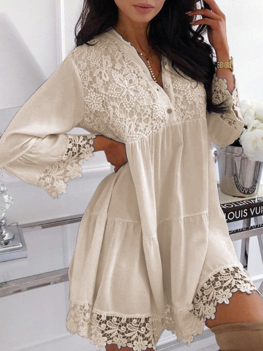 Plus Size Lace Splice Solid Long-Sleeved Mini Dress