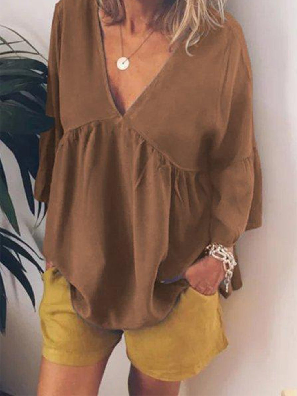 Plus Size Gathering Chest Yoke V Neck Blouse