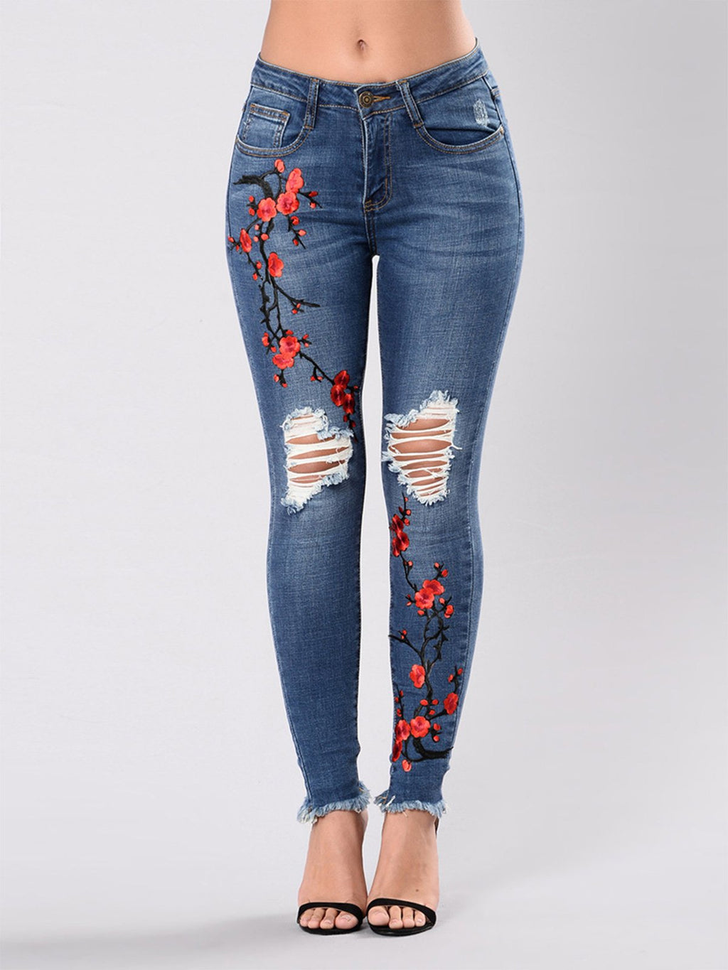Deep Blue Floral Embroidered Casual Jeans