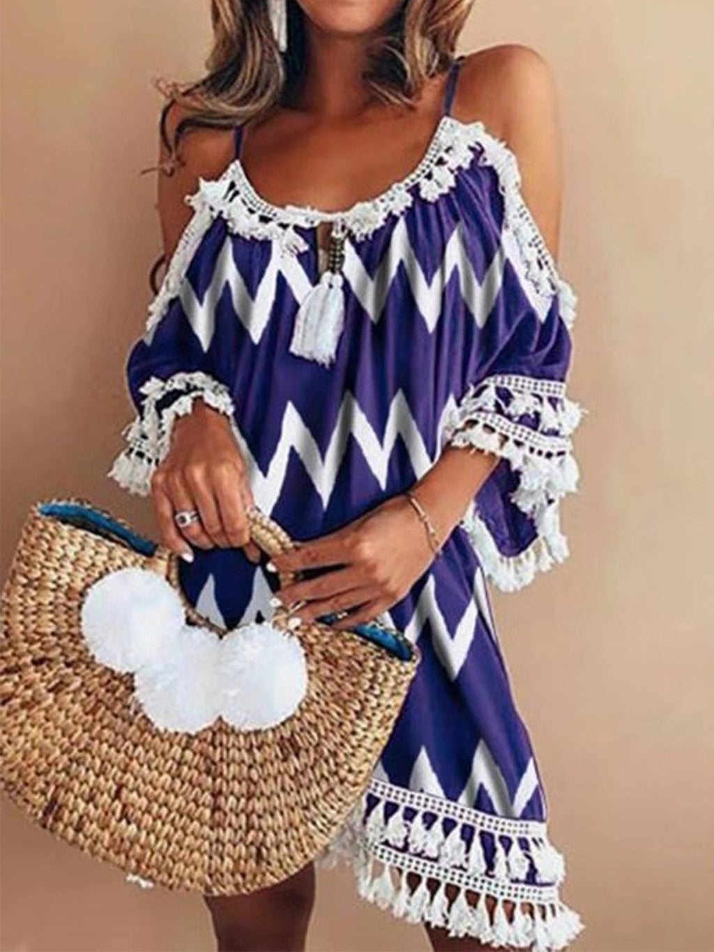 Vintage Color Block Wave Print Fringe Dress