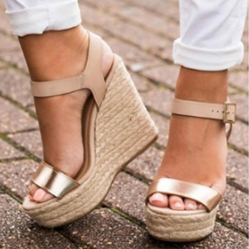 Golden Buckle Strap Wedges Sandals