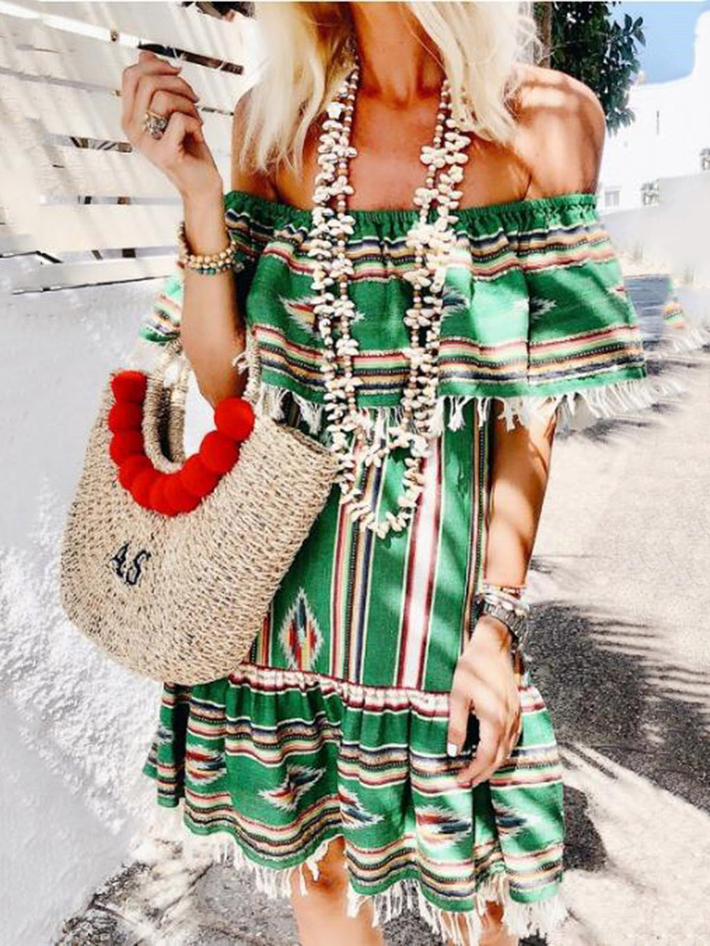 Green Stripe Print Fringe Hem Off-shoulder Dress